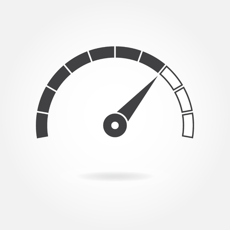 Speedometer icon or sign with arrow. Infographic gauge element. Vector symbol. Black tachometer isolated on white background. Banco de Imagens - 90566830