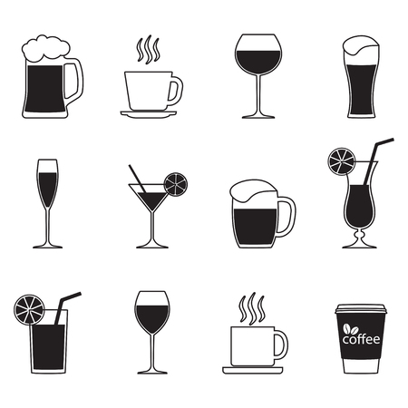 Drinks icons set. Alcoholic and non-alcoholic beverage isolated on white background. Vector illustration.