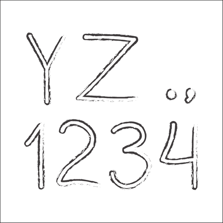 Hand drawn letters and numbers isolated on white background. Vector illustration.