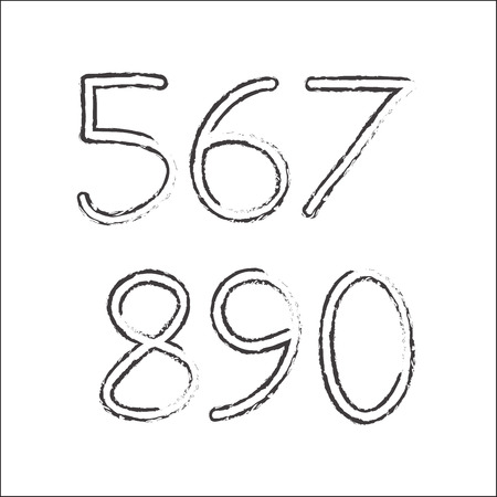 Hand drawn numbers isolated on white background. Vector illustration. Illustration