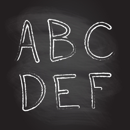 Hand drawn letters and numbers isolated on blackboard texture with chalk rubbed background. Vector illustration of alphabet.