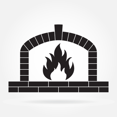 Fireplace or firewood oven icon isolated on white background. Vector illustration. Vettoriali