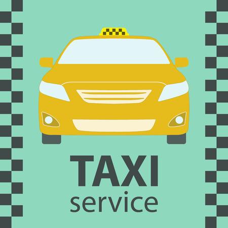 Taxi car symbol. Front view. Taxi service design. Vector illustration.