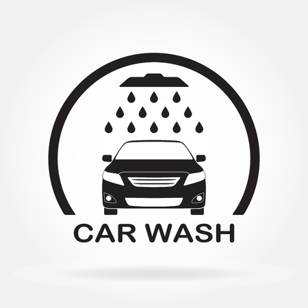 Car wash icon or label with auto shower and water drops. Vector illustration of a washing vehicle. Vettoriali