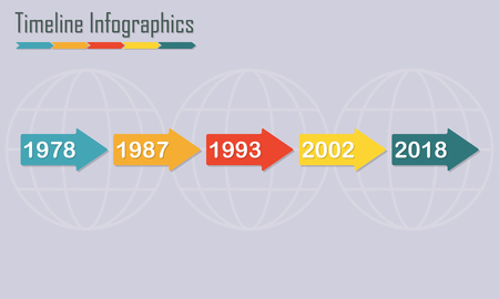 Timeline Infographics template with horizontal arrows. Colorful design elements. Vector illustration.
