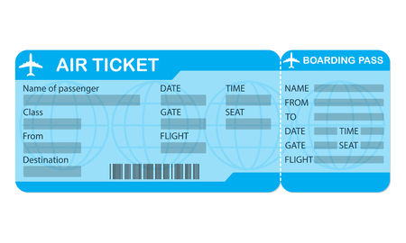 Airplane ticket. Blue boarding pass coupon isolated on white background. Detailed blank of plane ticket. Vector illustration. Vettoriali