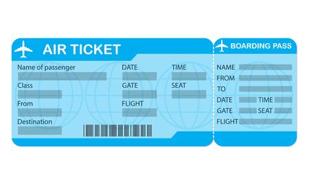 Vliegticket. Blauwe instapkaartcoupon die op witte achtergrond wordt geïsoleerd. Gedetailleerde blanco van vliegticket. Vector illustratie