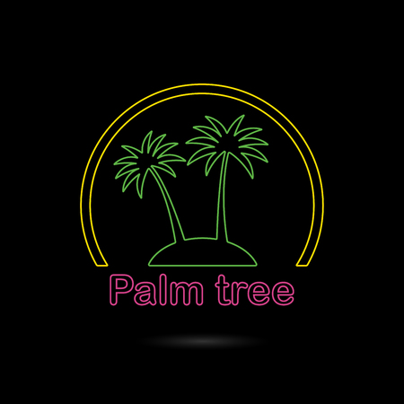 Palm Tree Icon Or Sign Outline Symbol Of Two Neon Glow Palm