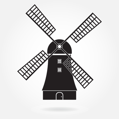 Windmill icon or sign isolated on white background. Mill symbol. Vector illustration.