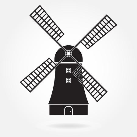 Windmolen pictogram of teken geïsoleerd op een witte achtergrond. Molen symbool. Vector illustratie. Vector Illustratie