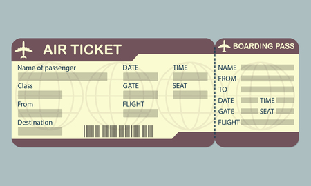 Airline boarding pass ticket template. Detailed blank of airplane ticket. Vector illustration.