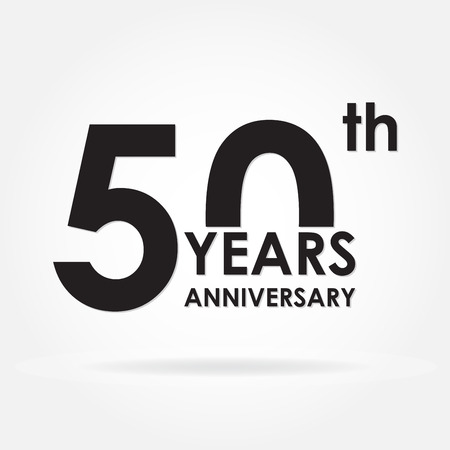 50 years anniversary sign or emblem. Template for celebration and congratulation design. Black vector illustration of 50th anniversary label. Vectores