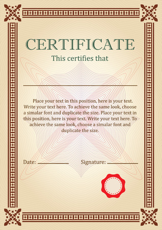 Certificate Or Diploma Of Completion Design Template With Borders ...