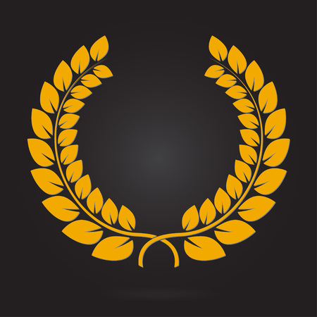 Laurel wreath. Yellow award icon or sign isolated on dark background. Vector illustration.