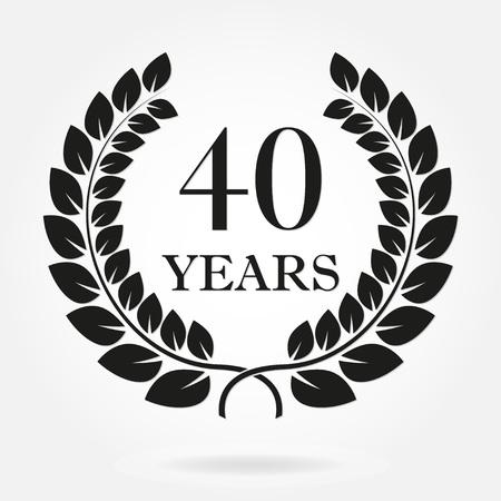 Signe de couronne de laurier anniversaire 40 ans ou emblème. Modèle de conception de célébration et de félicitation. Étiquette de 40e anniversaire de vecteur isolé sur fond blanc. Vecteurs