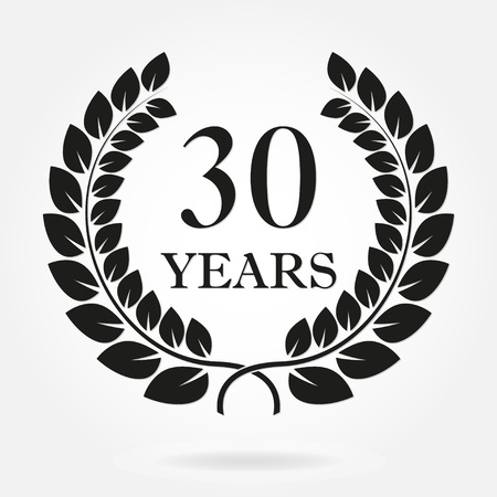 30 years anniversary laurel wreath sign or emblem. Template for celebration and congratulation design. Vector 30th anniversary label isolated on white background.
