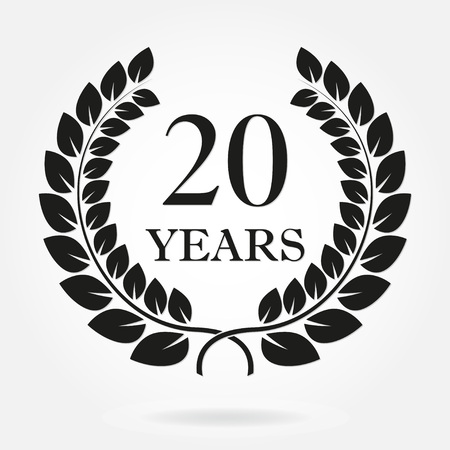 20 years anniversary laurel wreath sign or emblem. Template for celebration and congratulation design. Vector 20th anniversary label isolated on white background. 免版税图像 - 92845860