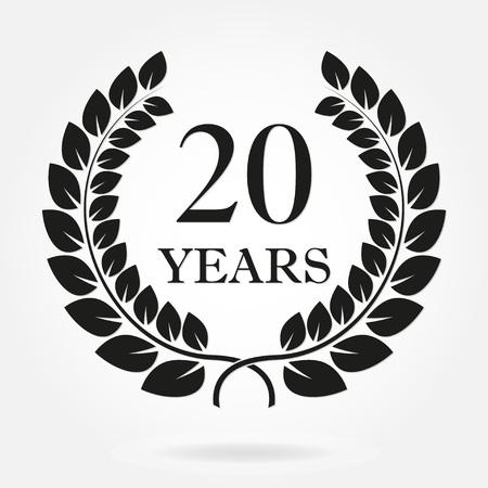 Signo o emblema de corona de laurel de 20 años aniversario. Plantilla para el diseño de celebración y felicitación. Etiqueta de aniversario del vector 20 aislada sobre fondo blanco. Ilustración de vector