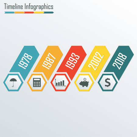 Timeline Infographics template. Isolated design elements for business, web, presentation, layout. Colorful vector illustration.