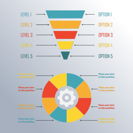 Funnel symbol and circle infographics template. Infographic or web design element. Template for marketing, conversion or sales. Colorful vector illustration.  イラスト・ベクター素材