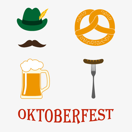 Oktoberfest icon set: pretzel, beer stein, sausage, hat. Oktoberfest beer festival design elements. Colorful vector illustration.