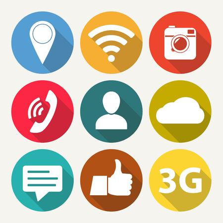 Social Network Icon Set Media Network Symbols In Flat Design