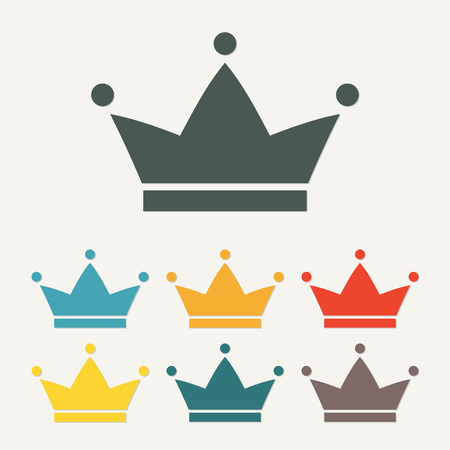 Crown icon or sign. Colorful vector illustration.