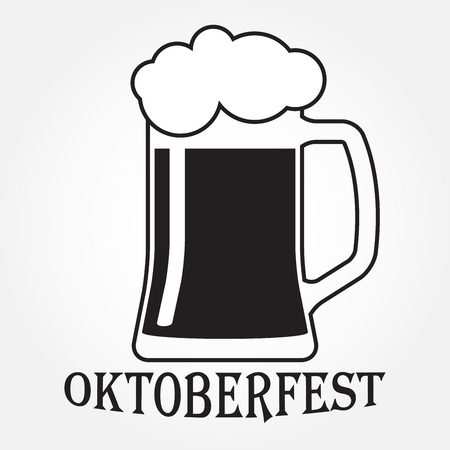 Octoberfest beer symbol isolated on white background. Beer mug or glass icon. Vector illustration.