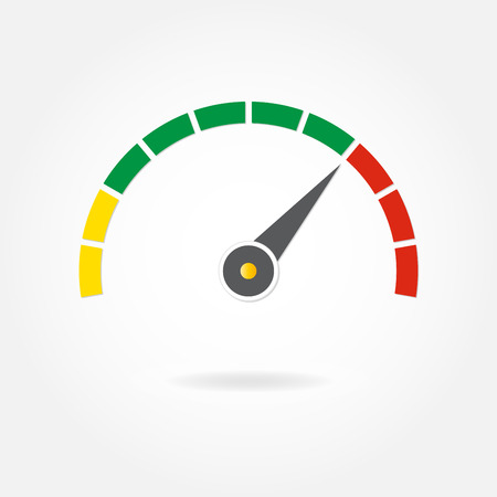 Speedometer or tachometer with arrow. Infographic gauge element. Template for download design. Colorful vector illustration in a flat style.