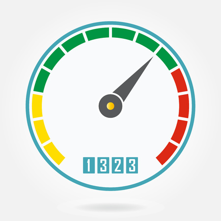 Speedometer or tachometer icon with arrow. Infographic gauge element. Template for download or upload design. Colorful vector illustration in a flat style. Çizim