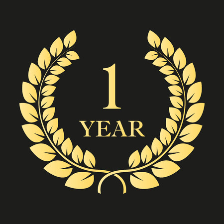 1 year anniversary laurel wreath icon or sign. Template for celebration and congratulation design. First anniversary golden label. Vector illustration. Stock Illustratie