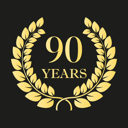 90 years anniversary laurel wreath icon or sign. Template for celebration and congratulation design. 90th anniversary golden label. Vector illustration.