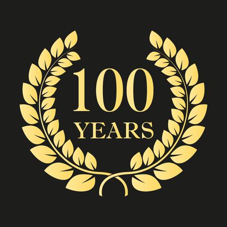 100-lecie wieniec laurowy ikona lub znak. Szablon do projektowania uroczystości i gratulacji. Złota etykieta 100-lecia. Ilustracji wektorowych. Ilustracje wektorowe