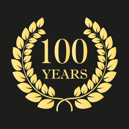 100 years anniversary laurel wreath icon or sign. Template for celebration and congratulation design. 100th anniversary golden label. Vector illustration. Ilustracja