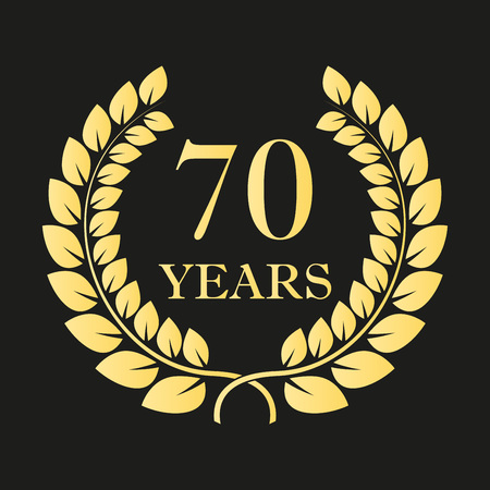 70 years anniversary laurel wreath icon or sign. Template for celebration and congratulation design. 70th anniversary golden label. Vector illustration.
