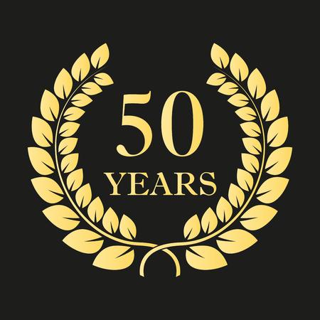 50周年記念月桂樹花輪のアイコンやサイン。お祝いとお祝いのデザインのためのテンプレート。創立50周年記念ゴールデンレーベル。ベクトルイラスト。