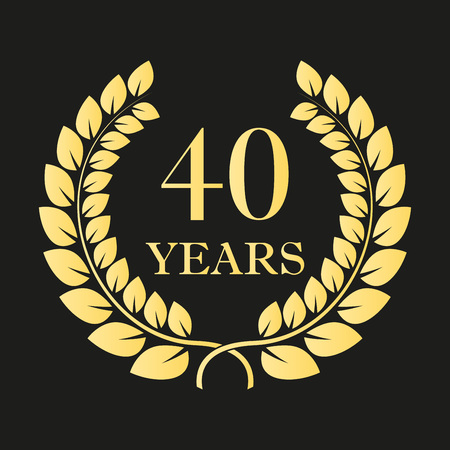 40 years anniversary laurel wreath icon or sign. Template for celebration and congratulation design. 40th anniversary golden label. Vector illustration.