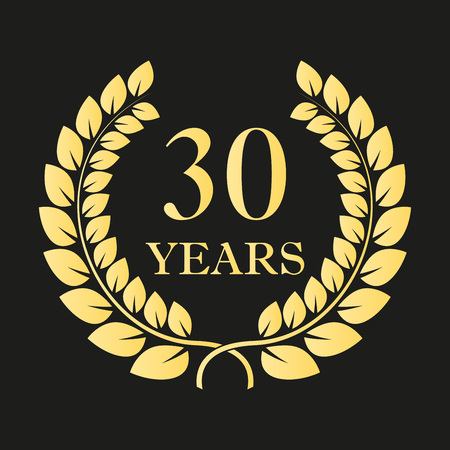 30 years anniversary laurel wreath icon or sign. Template for celebration and congratulation design. 30th anniversary golden label. Vector illustration. Vectores