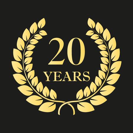 20 jaar verjaardag lauwerkrans pictogram of teken. Sjabloon voor viering en felicitatie ontwerp. 20e verjaardag gouden label. Vector illustratie