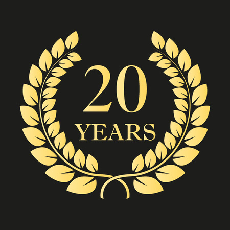 20 years anniversary laurel wreath icon or sign. Template for celebration and congratulation design. 20th anniversary golden label. Vector illustration.