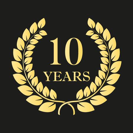 10 jaar verjaardag lauwerkrans pictogram of teken. Sjabloon voor viering en felicitatie ontwerp. Gouden label 10e verjaardag. Vector illustratie Stock Illustratie