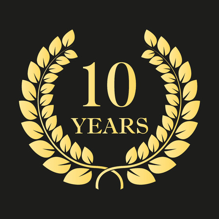 10 years anniversary laurel wreath icon or sign. Template for celebration and congratulation design. 10th anniversary golden label. Vector illustration.