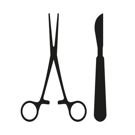 quirúrgica médico bisturí quirúrgico y pinza icono aislado en el fondo blanco. ilustración vectorial Ilustración de vector