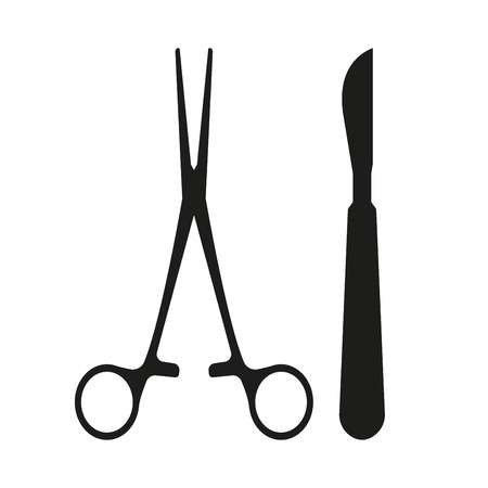 Surgical Instrument. Medical scalpel and clamp icon isolated on white background. Vector illustration. Vektoros illusztráció