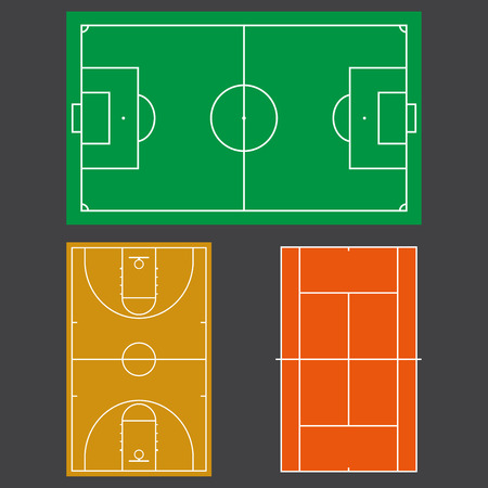 Football or soccer, tennis and basketball fields. Realistic blackboard for tactic plan. Colorful vector illustration.