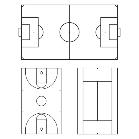 Football or soccer, tennis and basketball fields. Realistic blackboard for tactic plan. Vector illustration. Illustration