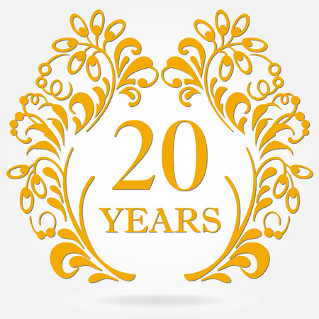 20 years anniversary icon in ornate frame with floral elements. Illustration