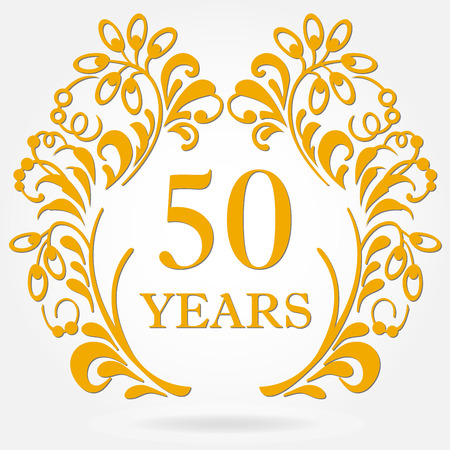 50 years anniversary icon in ornate frame with floral elements.