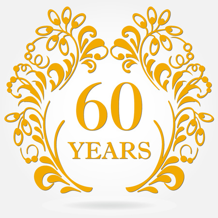 60 years anniversary icon in ornate frame with floral elements.