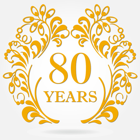 80 years anniversary icon in ornate frame with floral elements.